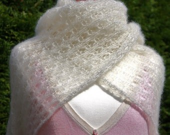 Bridal shawl, bridal wrap, wedding shawl, ivory, mohair, silk, lace felegree, knitted shawl