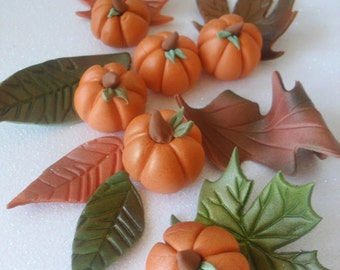 Variety Pack Fondant Fall Leaves and Pumpkins