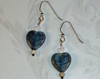 Silk Grey Window Heart Earrings with Swarovski and Sterling