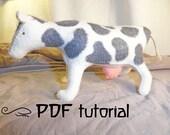 Felt cow, felt cow making pattern, felt animal, felt animal tutorial in a PDF file, felt cow tutorial, cow PDF, DIY cow, cow pattern
