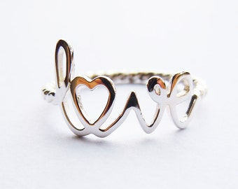 Solid 925Sterling Silver Twist Love Ring All Sizes