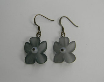 Frosted Green Flower  Lucite Earrings