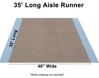 "35 Feet Burlap Aisle Runner - 40"" Inch Width"