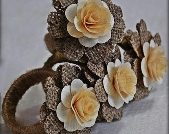 Burlap Napkin Rings - With Wood Roses (12 Pack)