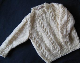 Hand knitted childs Aran jumper