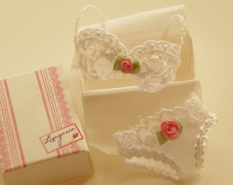 dollhouse miniature white bra in tulle with panties in 1:12 scale- miniature lingerie