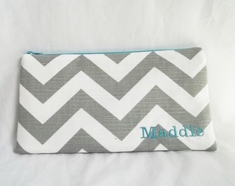 Bridesmaid clutches - Personalized Chevron Pouch with initials - Embroidered Makeup bag - Large