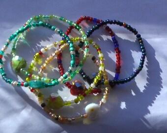 6 Heart Bracelets.