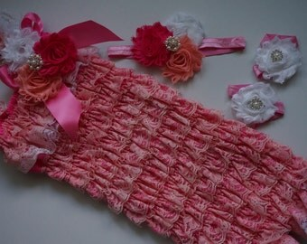 3 pieces coral and pink lace romper set. Lace Petti Romper , headband and baby sadals, Baby Girl Photo Prop