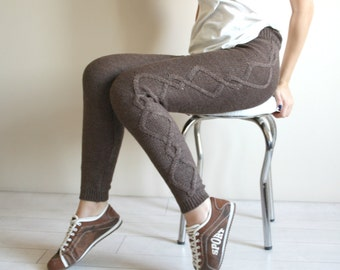 Brown Knitted Stretch Tight  Pants Cable  Leggings Legwarmer Christmas Gift under50
