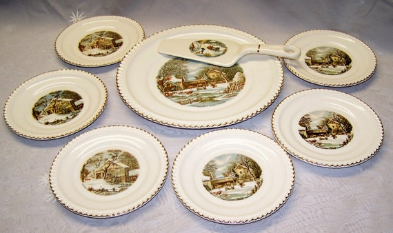 Harkerware Currier And Ives Plates Pictures to Pin on Pinterest ...