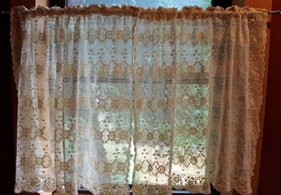 Crocheted Lace 2 Panel Cream Colored Curtains