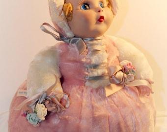 Rushton Vintage Rubber face Little Bo Peep Plush pink Doll 1950's