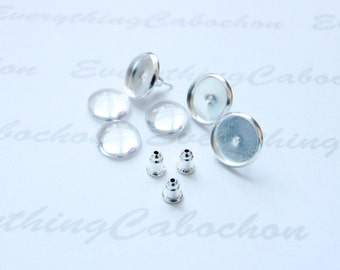 40 sets Silver Earring Posts Earring Ear Studs with Ear backs and matching round glass cabochons, Inner tray 8mm