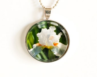 White Iris Photo Pendant Necklace - Photo Jewelry - Flower Pendant - Iris Necklace - 24 Inch Silver Plated Ball Chain Incl