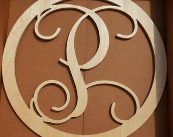 20 inch CIRCLE BORDER Wooden Monogram Letters, Front Door Single Letter Initial, Wedding Gift, Baby Shower Decor, Nursery Monogram, Wooden