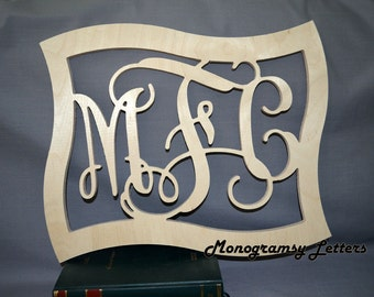"28""x23"" Vine Connected Wooden Monogram Letters - Wedding, Nursery, Home Decor - with FRAME"