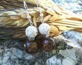 Beaded drop earrings/brown earrings/white earrings/bronzite earrings/howlite earrings/bead earrings/dangle earrings/brown bead earrings