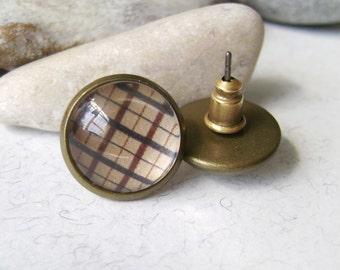 Ear studs plaid . Handmade Earrings studs . Earrings checkered . Beige cell . Jewelry checkered