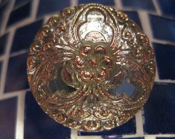 Gold Floral Motif on Honeydew Green Czech Glass Button 22mm