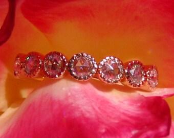 Rose Cut Moissanite in Rose Gold Milgrain Bezel Wedding Band