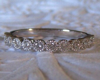White Gold Milgrain Bezel Diamond Wedding Band