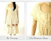 70's Mexican Dress/Embroidered Mexican Dress