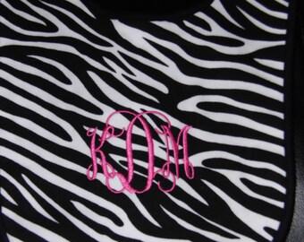 Zebra Bib with Pink Monogram
