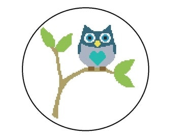 Owl Cross Stitch Pattern PDF - Baby Owl Sitting On A Branch, PDF File, Instant Download, Free Shipping
