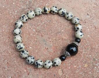 Dalmatian Jasper & Black Onyx Beaded Bracelet