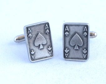 Ace of Spades Playing Card Cufflinks by Hoardersworld in Fine English Pewter, Gift Boxed