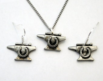 Blacksmith's Anvil Necklace and Earrings Set, English Pewter, Gift Boxed (hin-S)