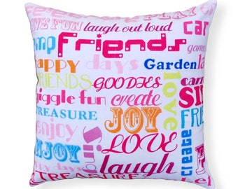 "SALE 50% discount, Throw pillow cover, grafitti print, cotton multicoloured 16""X16"""