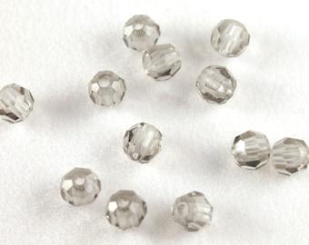 12x Black Diamond Round Swarovski Crystal Beads - B036