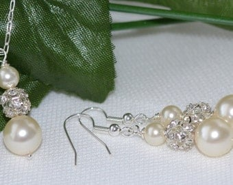Bridesmaid Jewelry Necklace & Earring Set - Swarovski Pearl Rhinestone Ball- Customize to Your Color Wedding Bridal Party