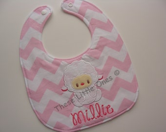 Personalized baby bib in pink chevron with sweet baby lamb - new mom or baby shower gift
