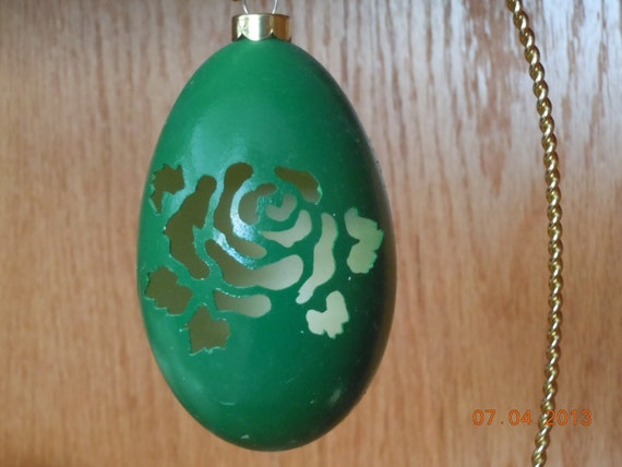 Christmas Tree Goose Egg Carved Ornament - Rose