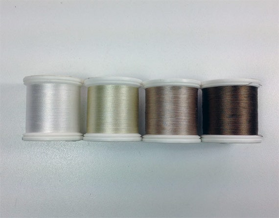 Yli Silk Thread 100 Neutrals White Beige Buff And By