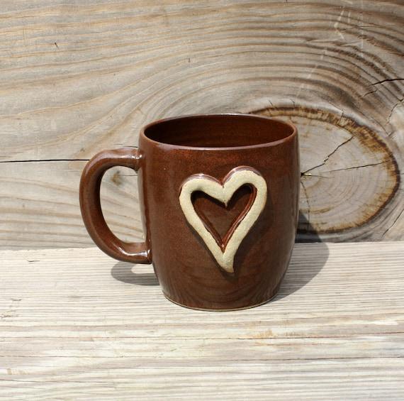 Rustic Heart Coffee Mug. Red Brown. Large Coffee Cup.