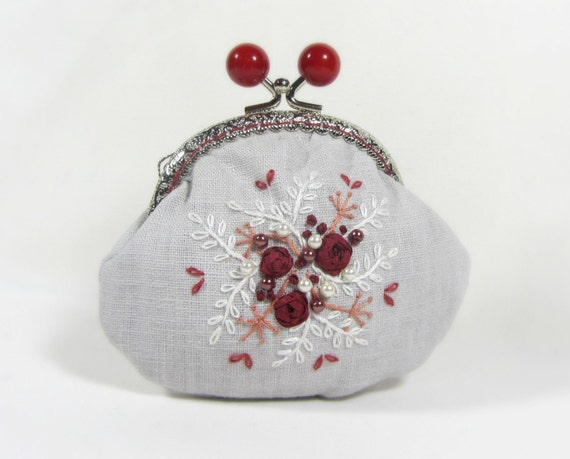 Hand embroidered linen coin purse red roses