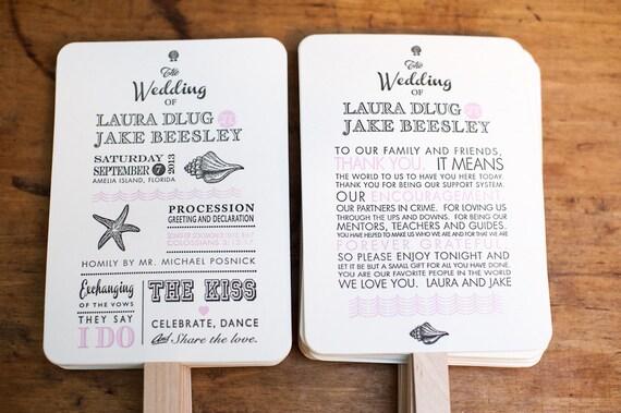 Beach Wedding Program Fan Kit Destination Wedding Program