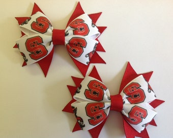 Set of 2 NC State Bows with Spikes