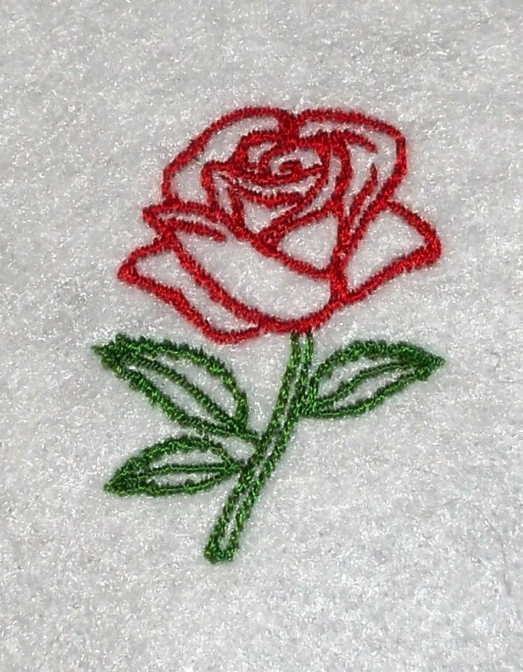 Rose outline embroidery file many sizes and types