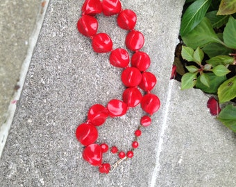 Vintage Red Bead Choker from Germany