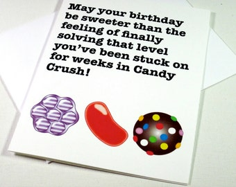Instant Printable Digital Download Candy Crush Birthday Card