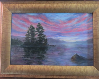 Wild Sunset Maine Lake Original Oil Painting