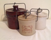 Retro Rustic Cheese or Butter Crocks Set of 3