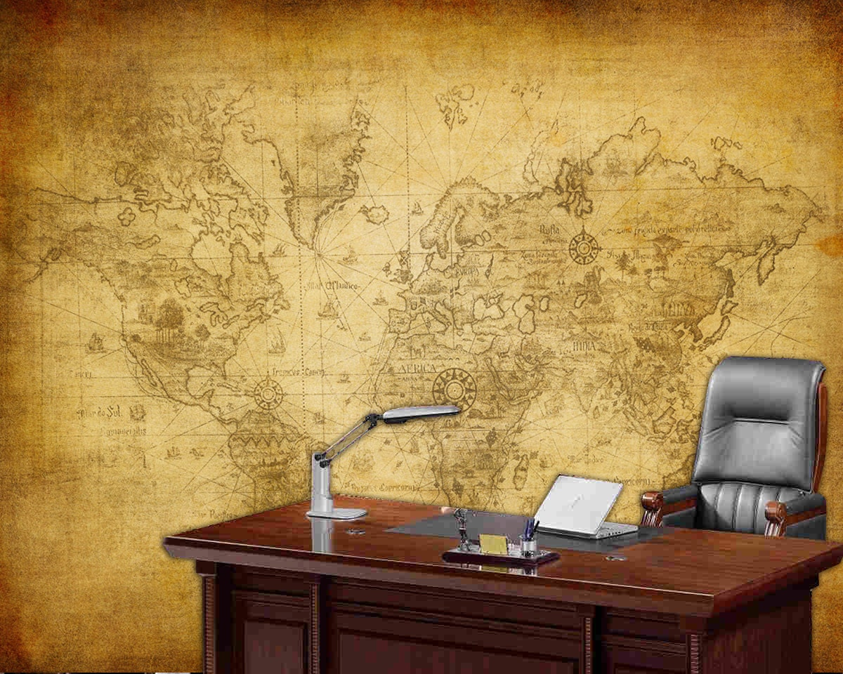 World map wall mural Old map of the world Repositionable