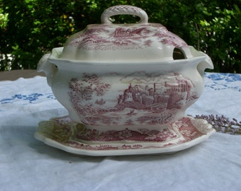 Tureen with Underplate - Red Transferware - Vintage