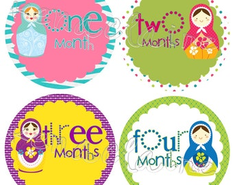Baby Girl Monthly Stickers, Baby Month Stickers, Babushka Design 0-12 months